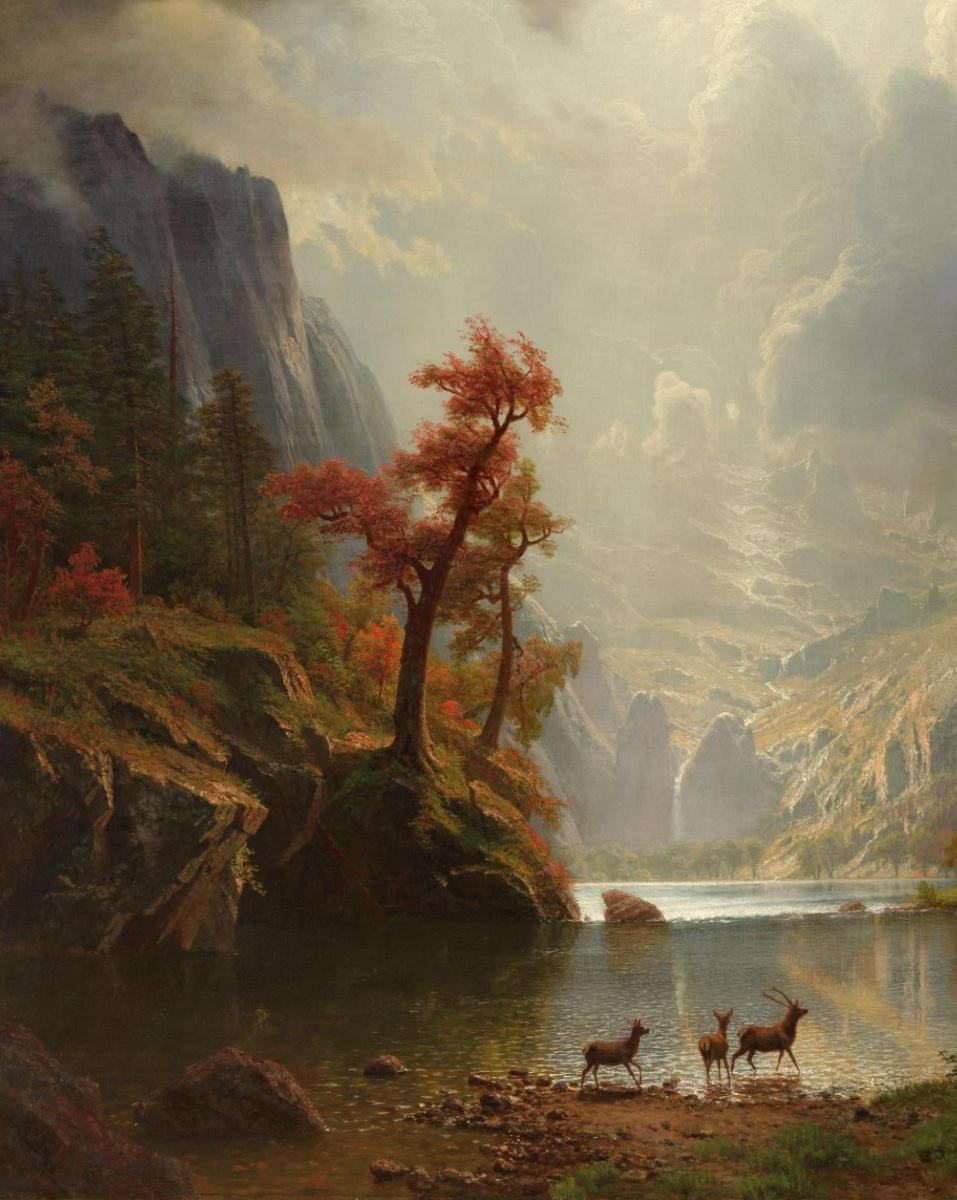 Альберт Бирштадт. Утро в Сьерра-Невада. Фрагмент. Олени у реки