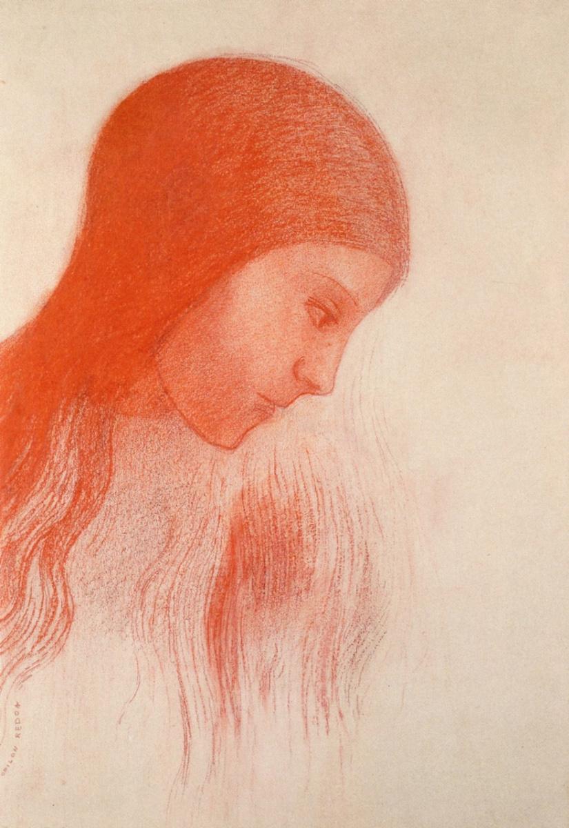Одилон Редон. Девушка со склоненной головой