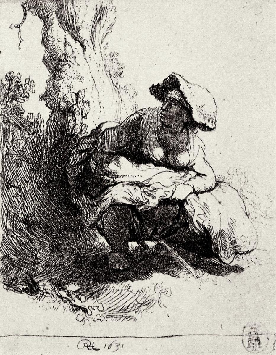 Рембрандт Харменс ван Рейн. Мочащаяся женщина