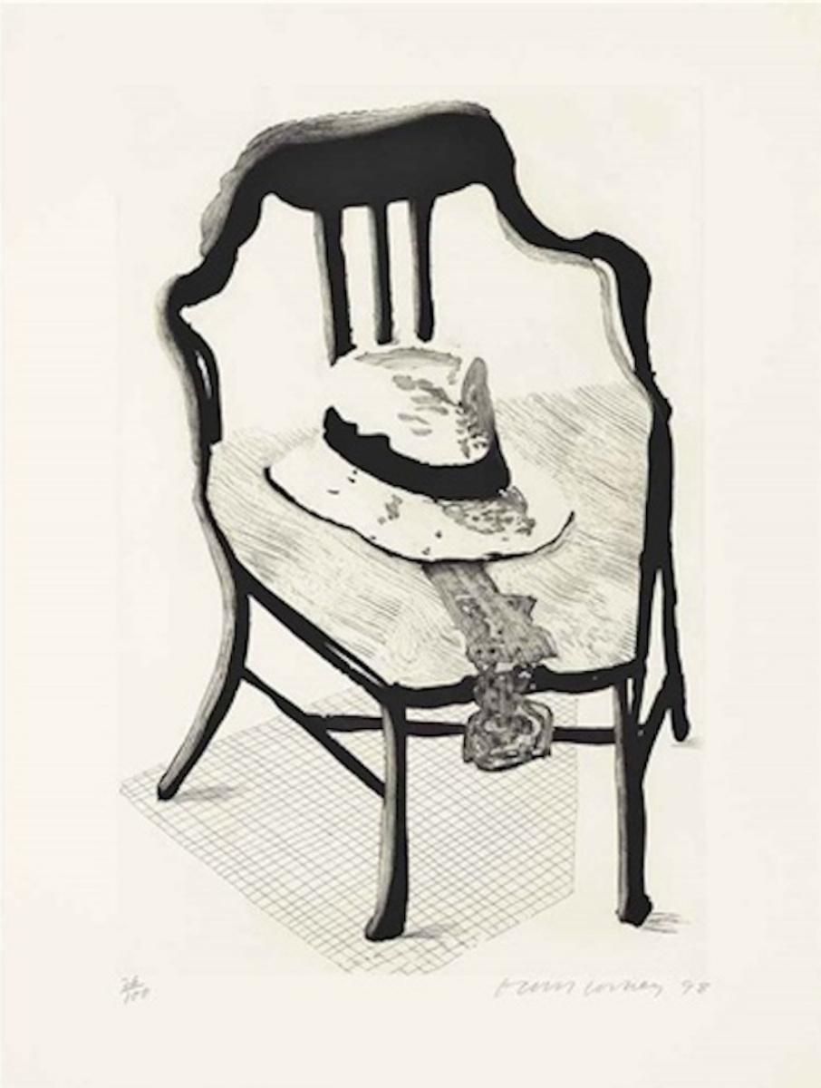 Дэвид Хокни. Шляпа с галстуком-бабочкой на стуле