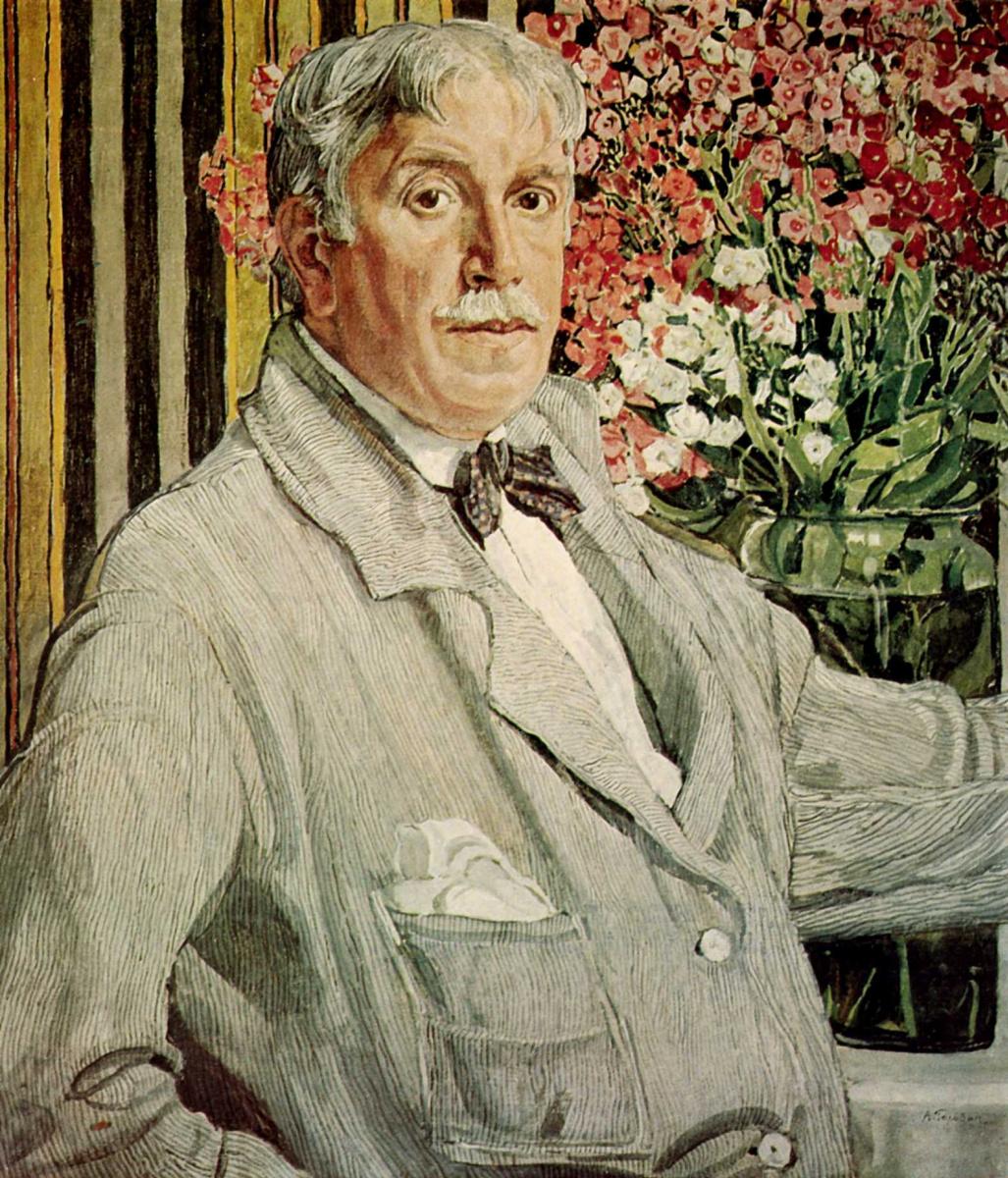 Александр Яковлевич Головин. Автопортрет с полосатой тканью
