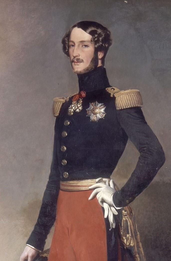 Франц Ксавер Винтерхальтер. Фердинанд Филипп Луи, герцог Орлеанский, на фоне Парижа. Фрагмент