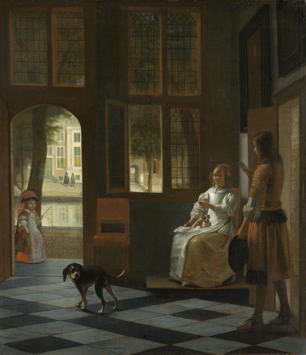 Pieter de Hooch. The man gives a letter to the woman in the hallway