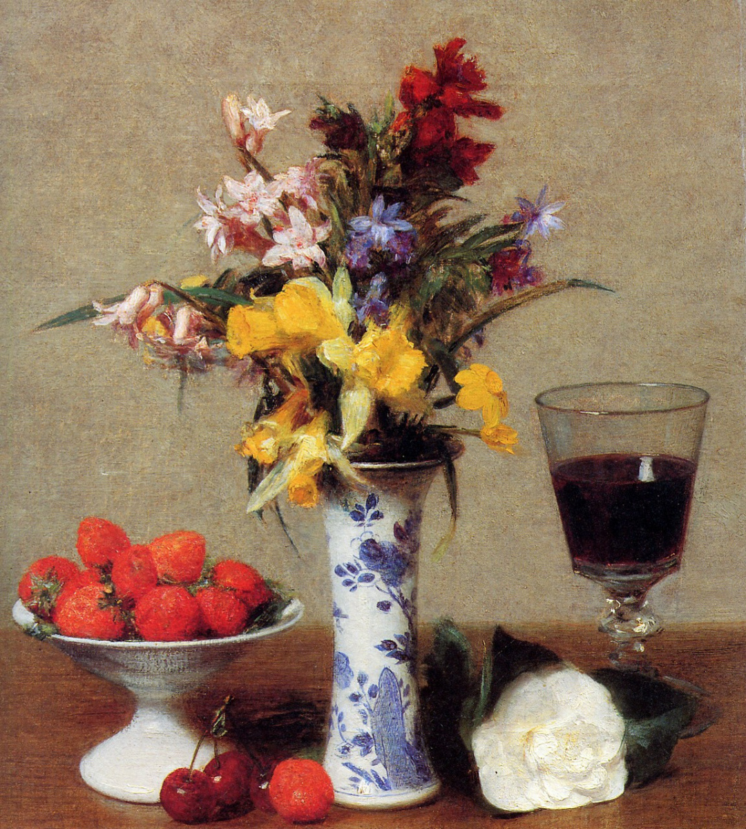 Henri Fantin-Latour. Still life with glass of wine and strawberries