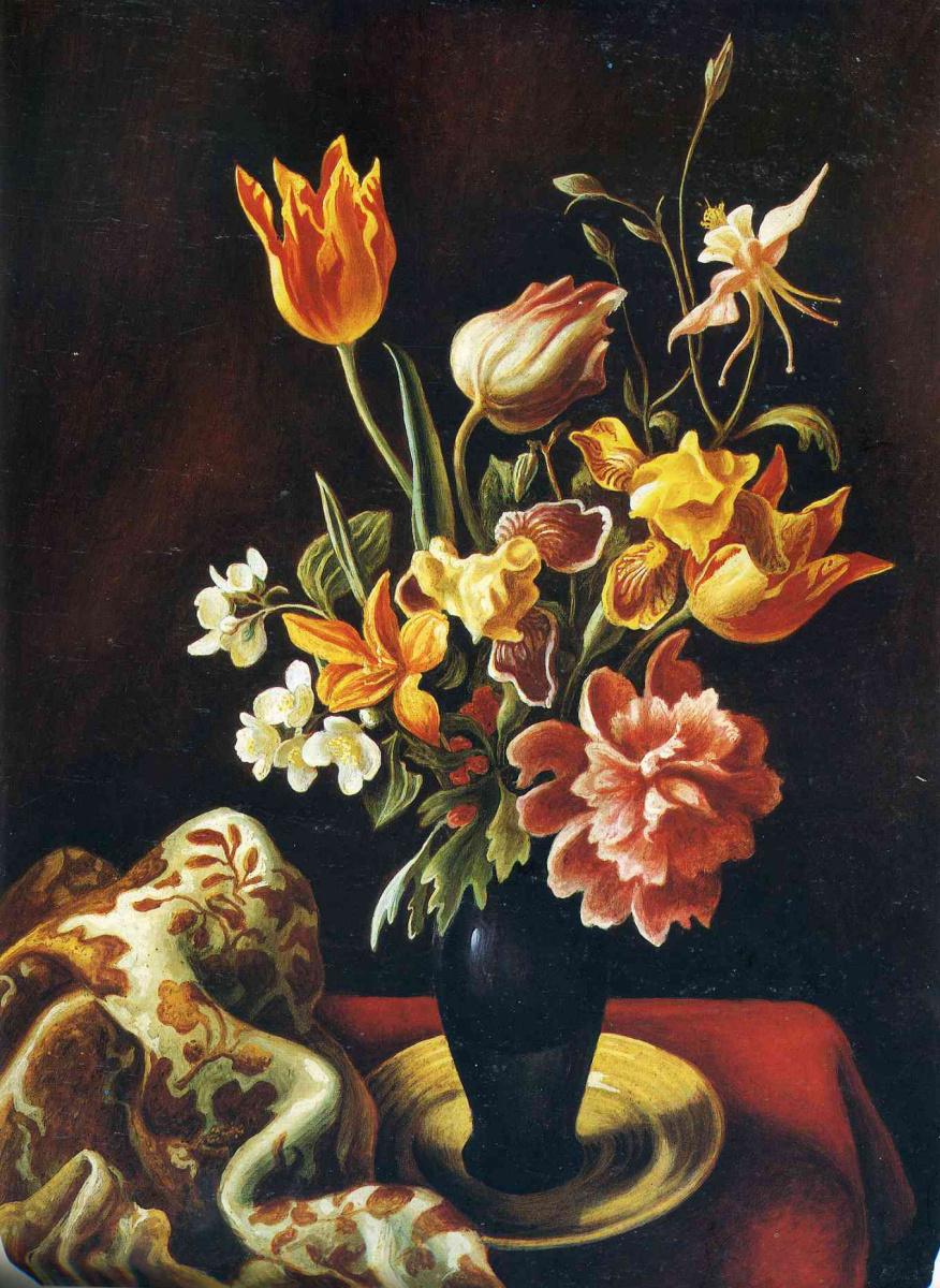 Томас Харт Бентон. Цветы в темной вазе