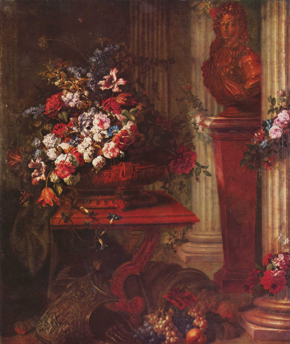 Jean-Baptiste Belin the Elder. Vase with flowers and bronze bust of Louis XIV