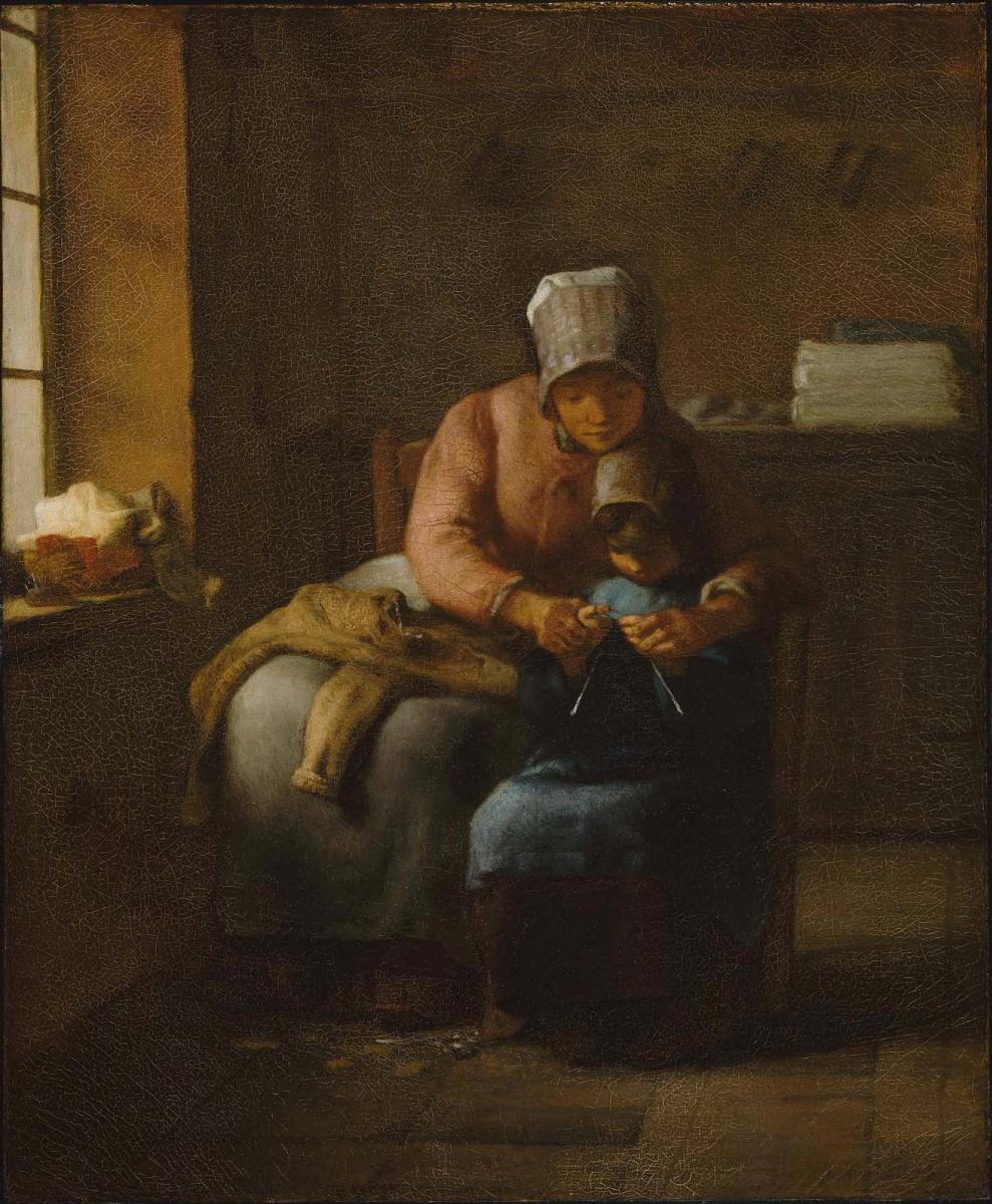Jean-François Millet. Knitting lesson