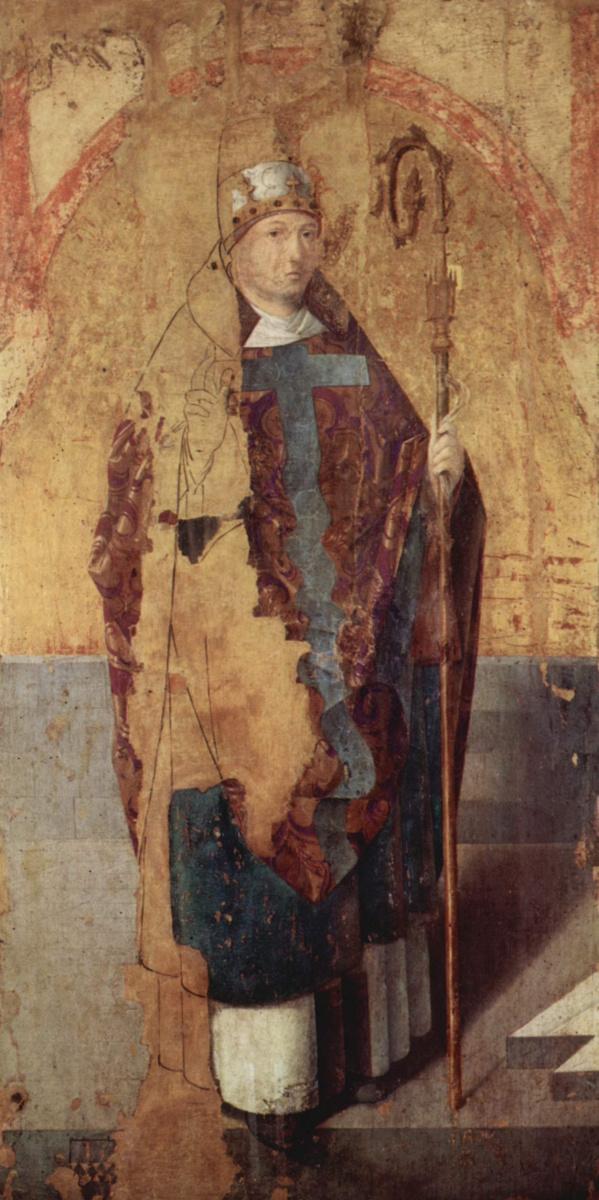 Антонелло да Мессина. Полиптих св. Григория, левая доска, св. Григорий