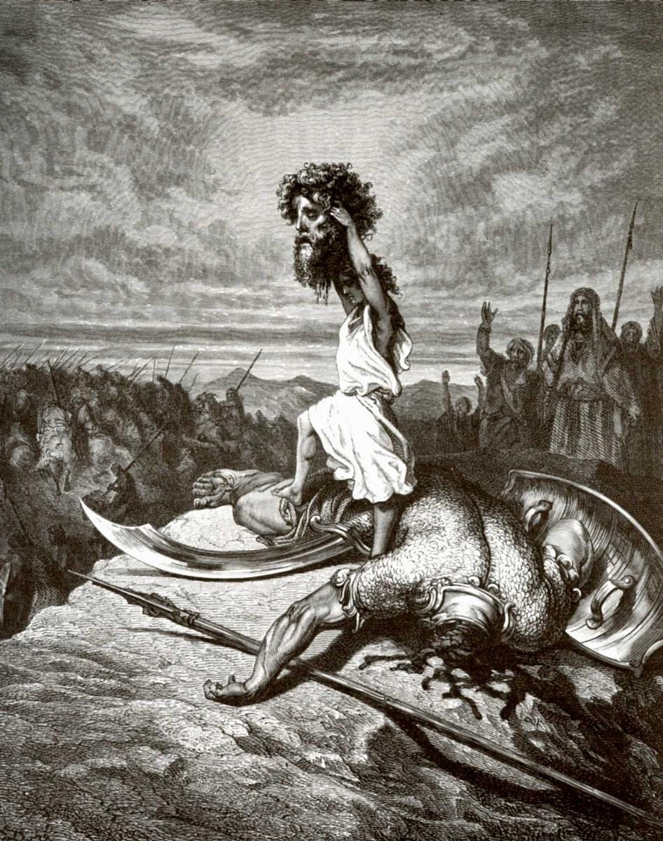 Поль Гюстав Доре. Иллюстрация к Библии: Давид и Голиаф