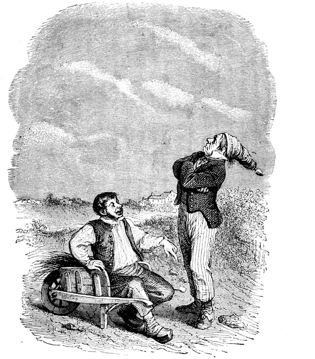 Жан Иньяс Изидор (Жерар) Гранвиль. Два крестьянина. Иллюстрации к басням Флориана