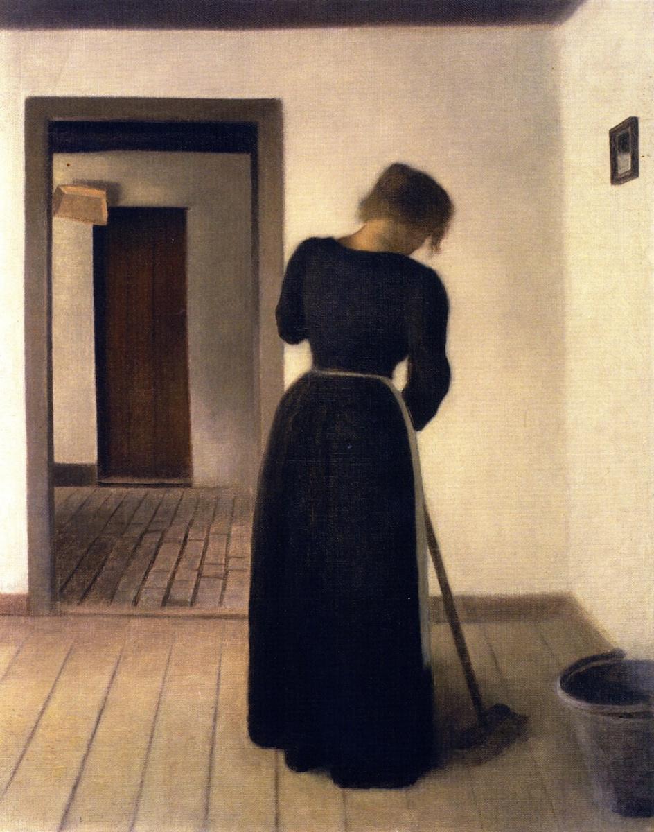 Вильгельм Хаммерсхёй. Интерьер с женщиной, подметающей пол