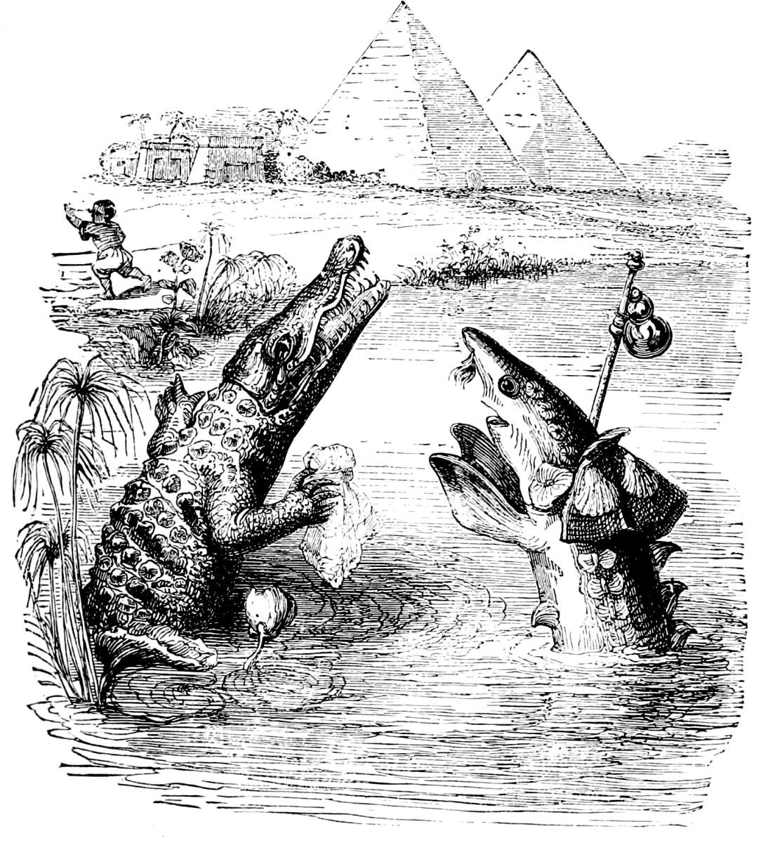 Жан Иньяс Изидор (Жерар) Гранвиль. Осетр и Крокодил. Иллюстрации к басням Флориана