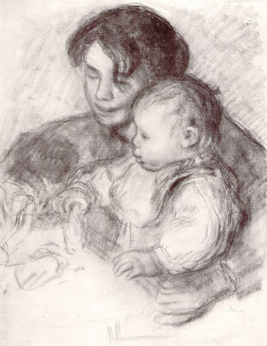 Пьер Огюст Ренуар. Девушка с ребенком (Жан и Габриэль)