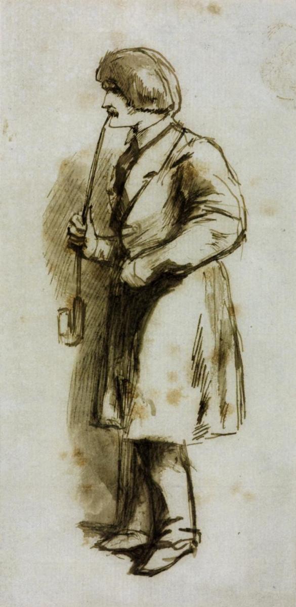 Данте Габриэль Россетти. Мужчина, курящий длинную трубку