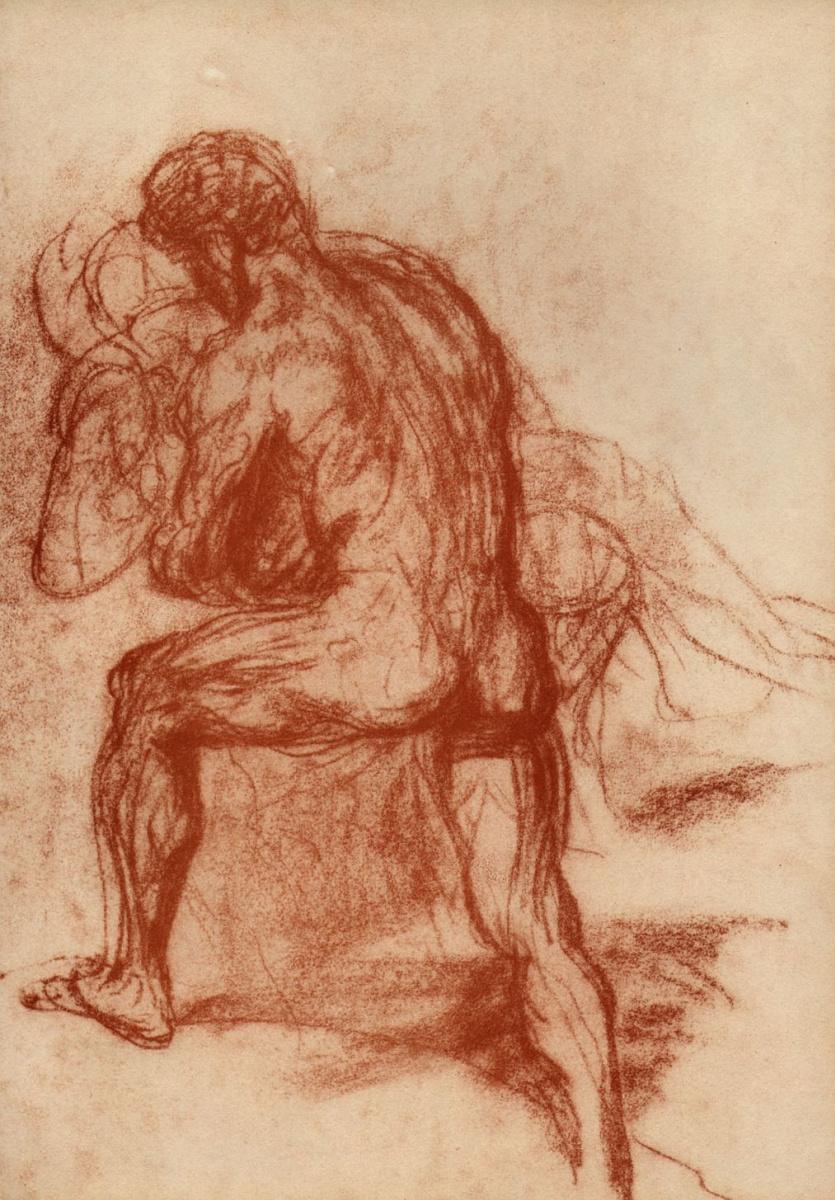Ханс фон Маре. Обнаженный мужчина, держащий на руках обнаженную женщину; фигура со спины