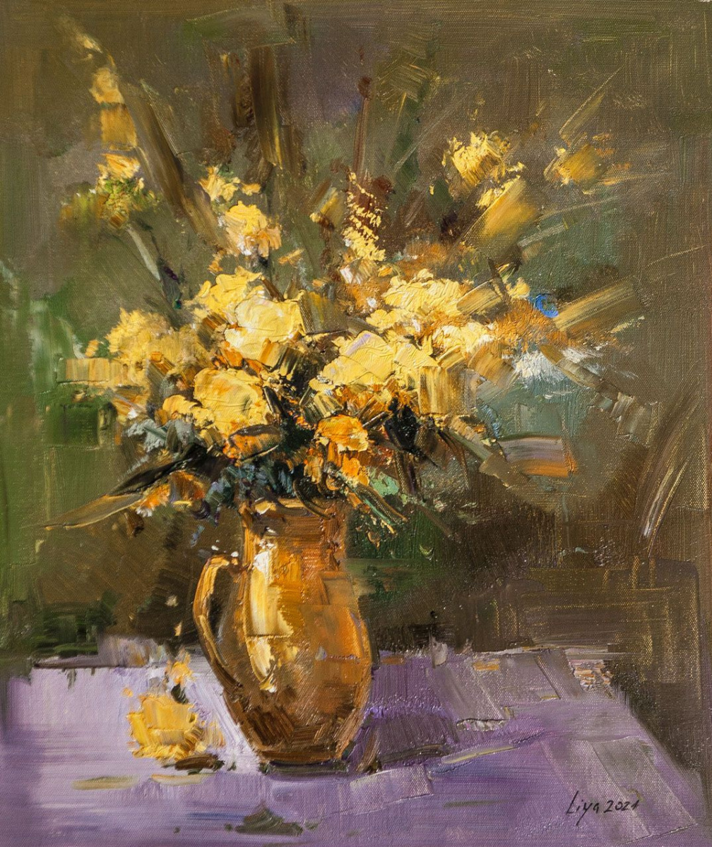 (no name). Sunny bouquet in a clay jug