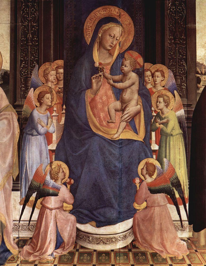 Фра Беато Анджелико. Мадонна на троне (фрагмент)
