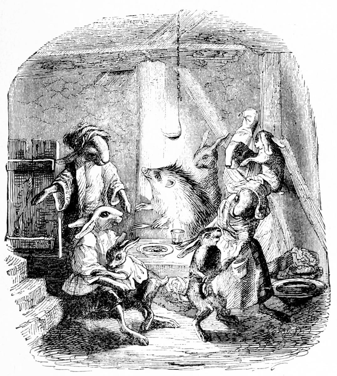 Жан Иньяс Изидор (Жерар) Гранвиль. Еж и Кролики. Иллюстрации к басням Флориана