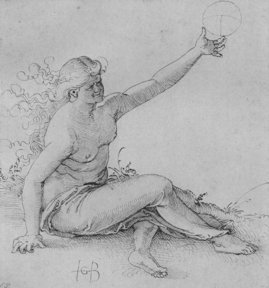 Ханс Бальдунг. Сидящая на земле полуобнаженная женская фигура