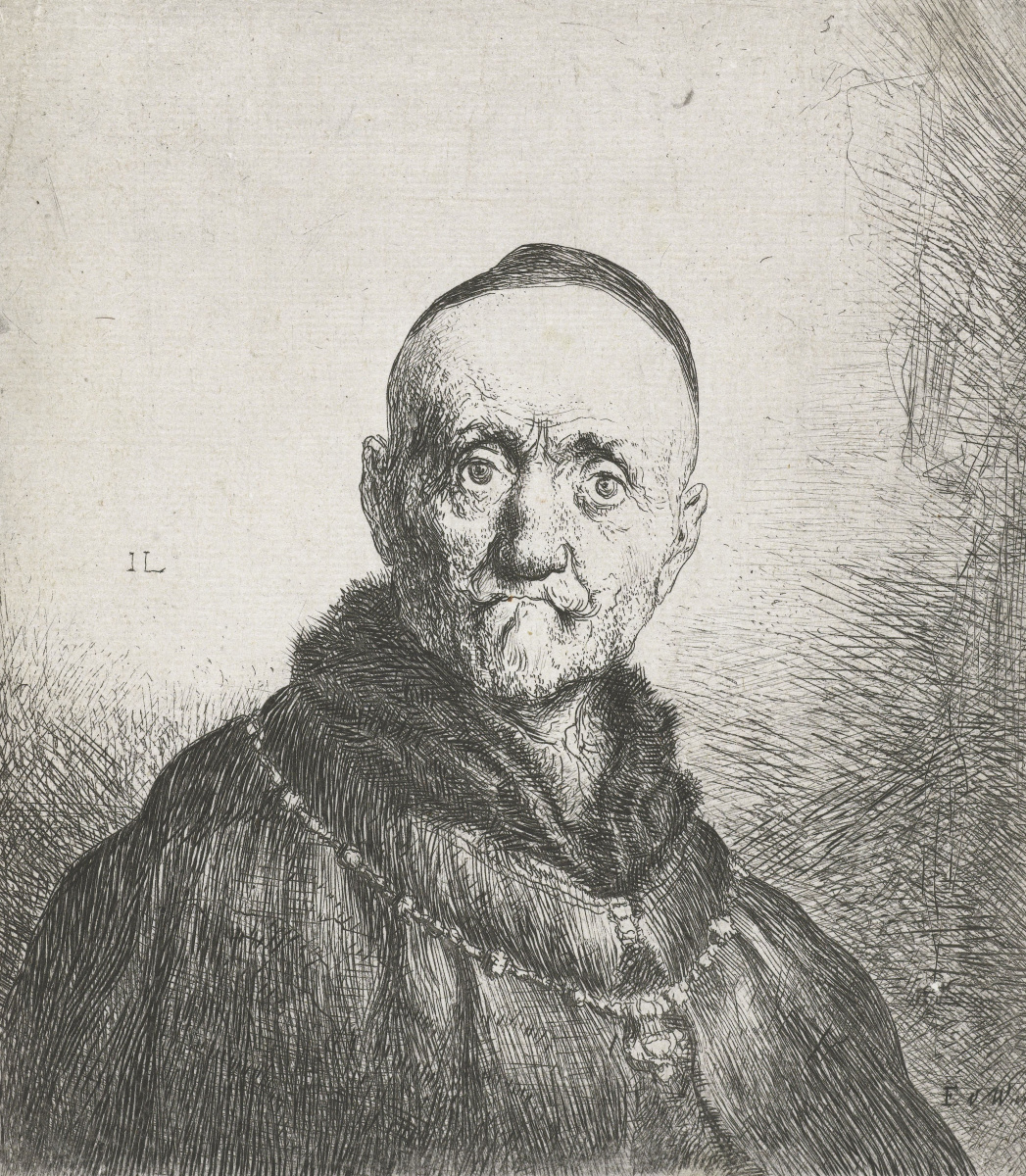 Jan Lievens. Portrait of a wealthy old man with a fur collar
