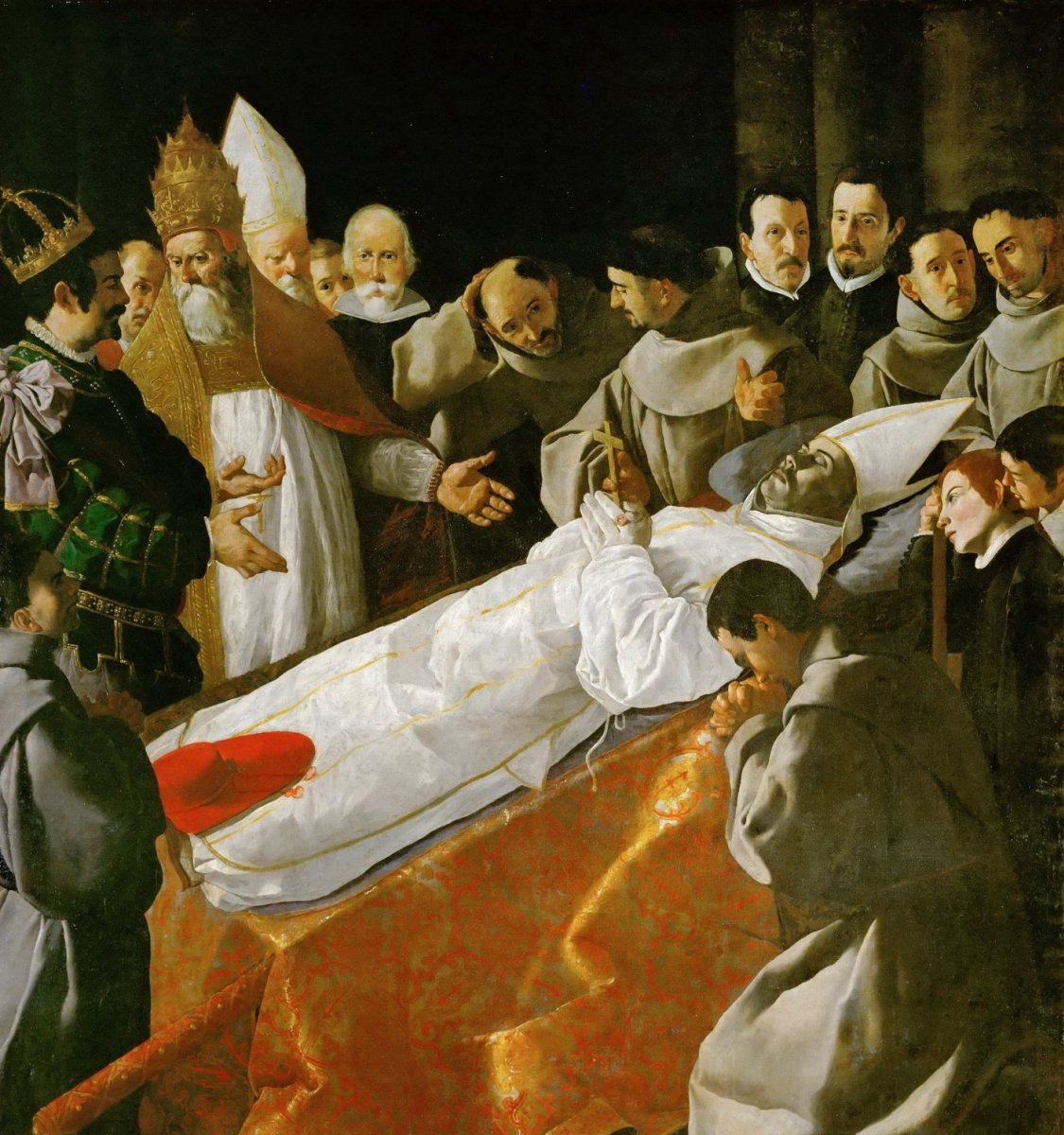 Francisco de Zurbaran. The burial of St. Bonaventure in the presence of Pope Gregory X and the king Jaime I of Aragon I