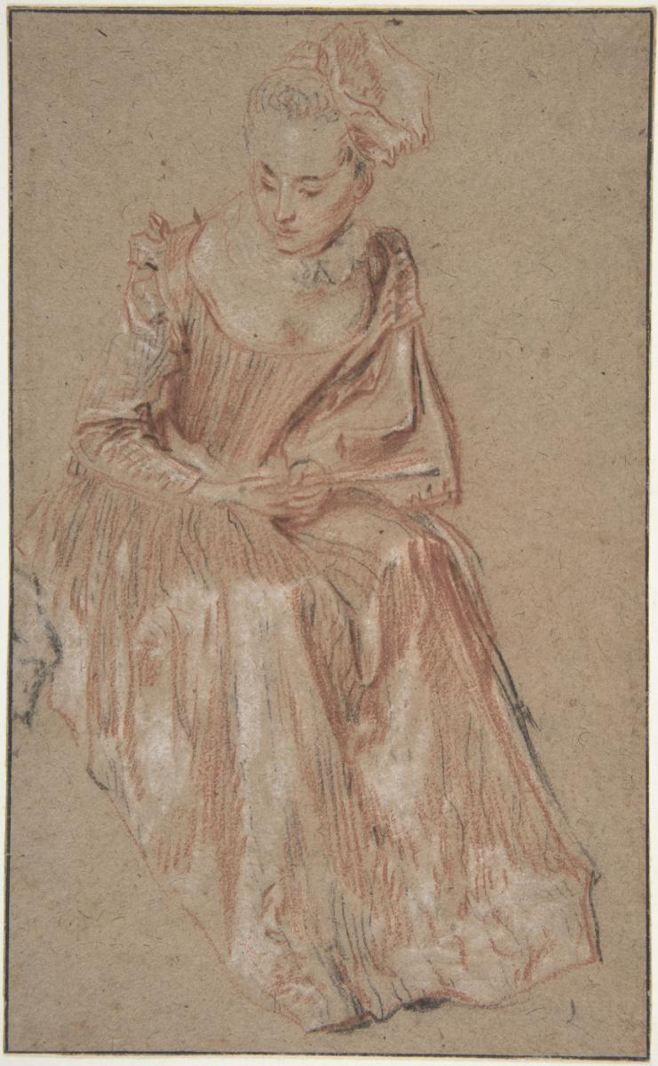 Антуан Ватто. Сидящая женщина с веером