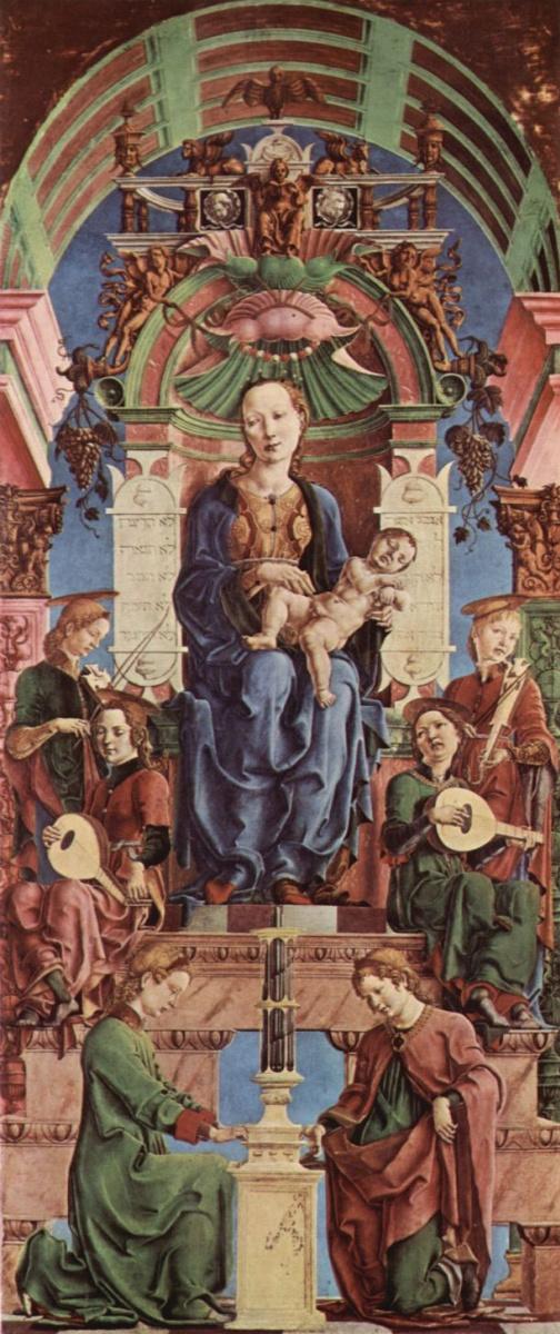 Козимо Тура. Алтарь Роверелла для Санта Джорджио в Ферраре, центральная часть, сцена: Мадонна на троне и музицирующий ангел