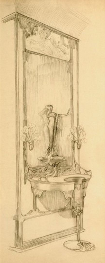 Alfons Mucha. The interior of the jewelry store of Georges Fouquet. A sketch showcase with mirror and figurine