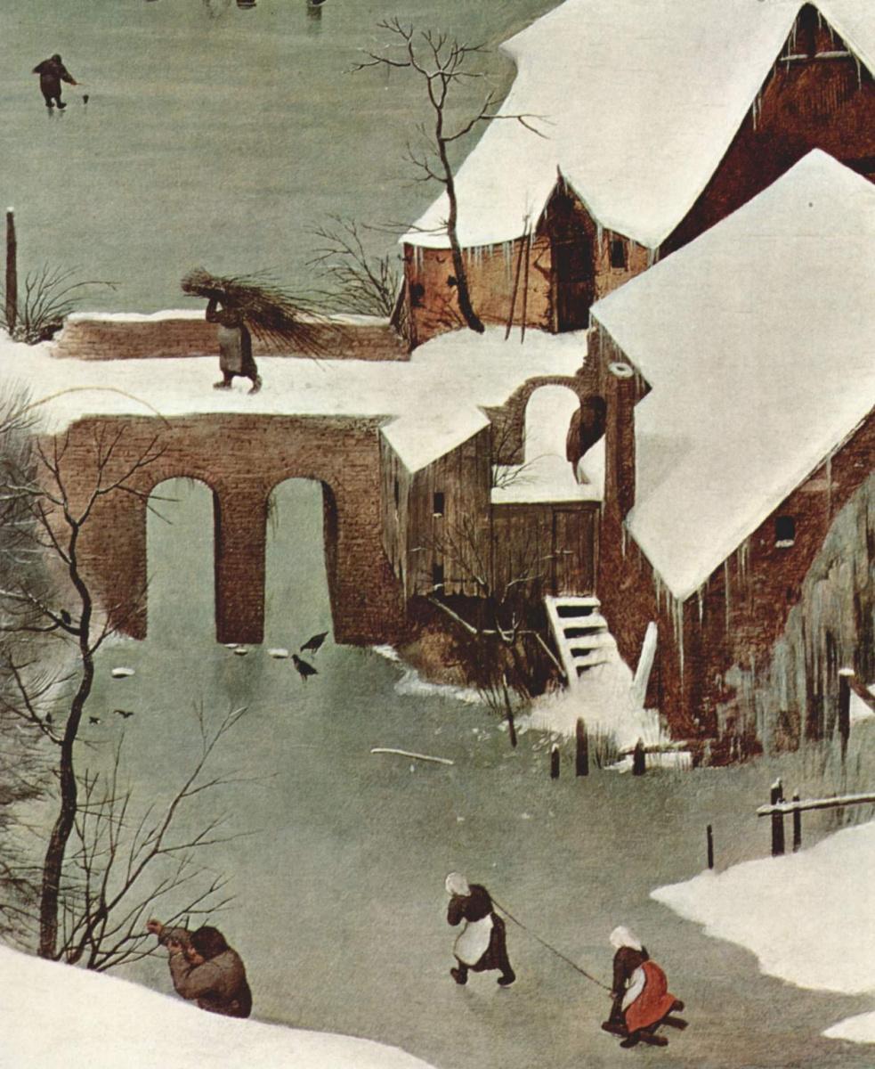 Питер Брейгель Старший. Цикл картин: Месяцы. Охотники на снегу, месяц Январь, фрагмент
