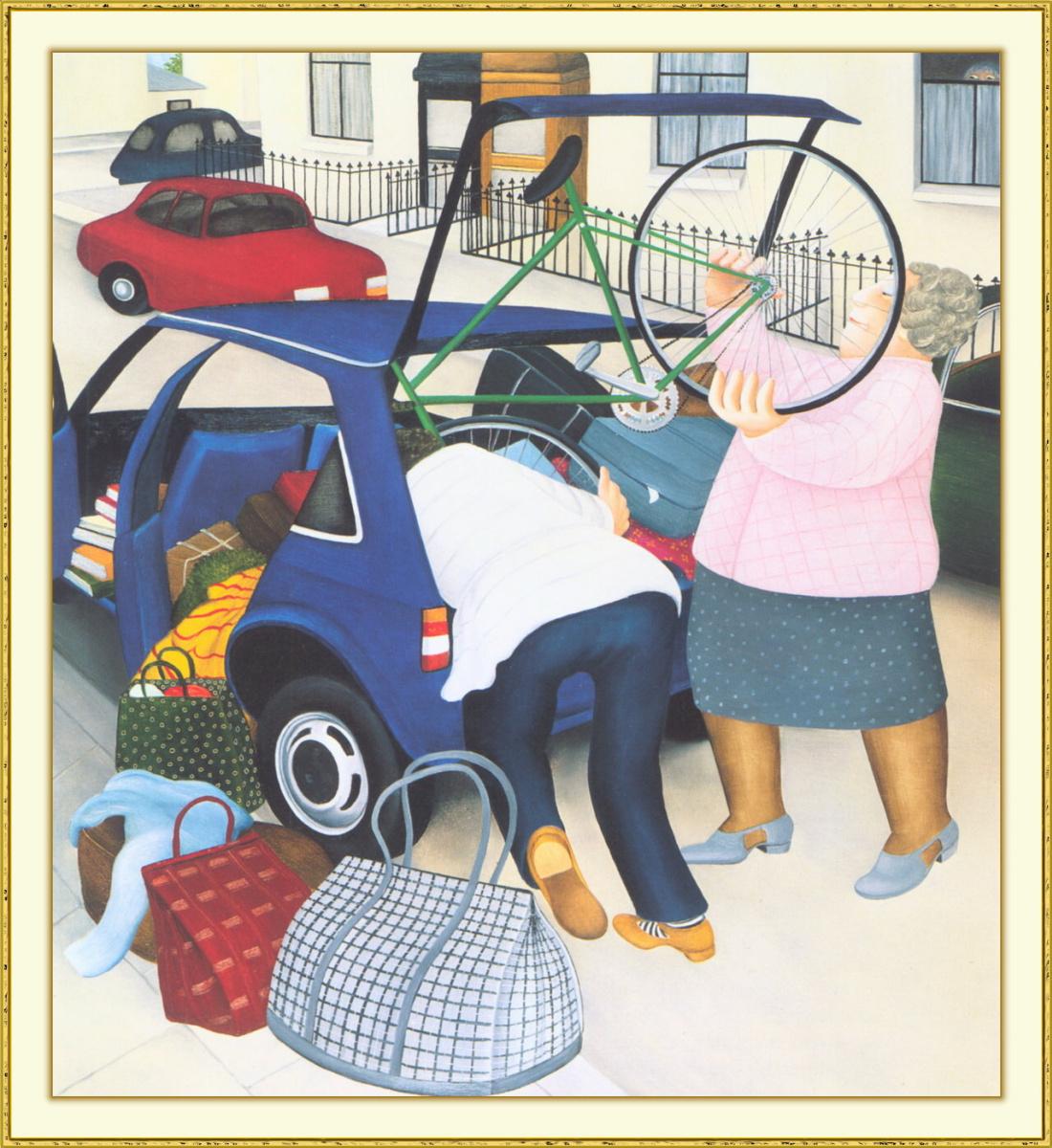 Beryl Cook. Car packing