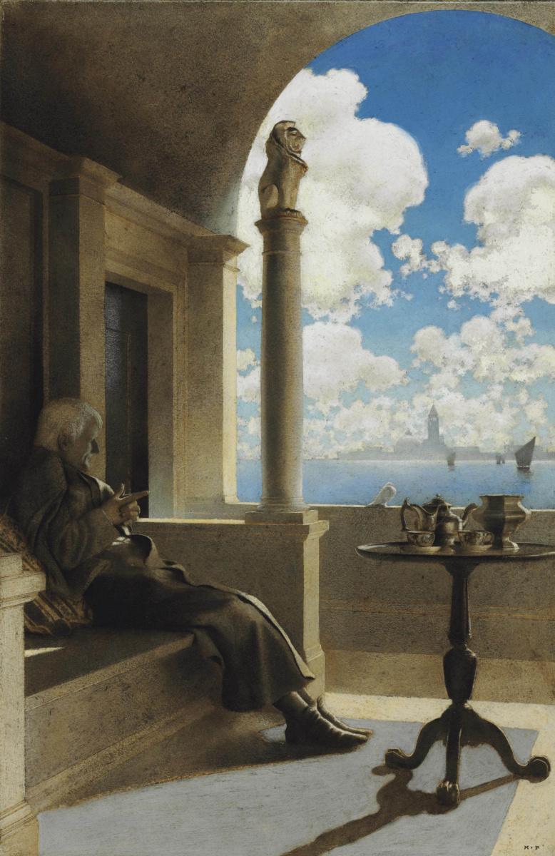Максфилд Пэрриш. Кардинал на своем затененном балконе