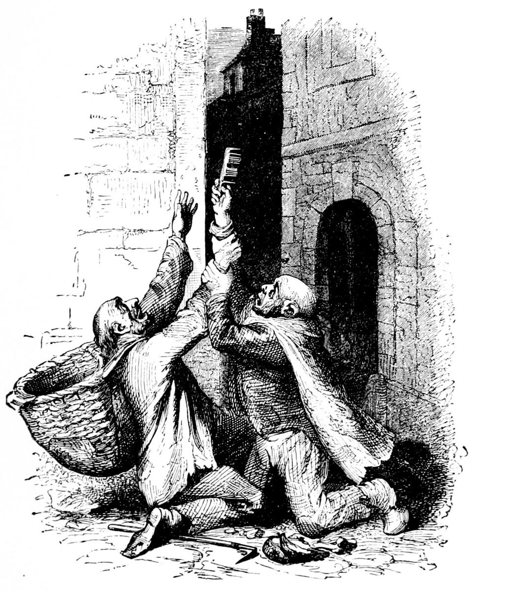 Жан Иньяс Изидор (Жерар) Гранвиль. Расческа и двое лысых нищих. Иллюстрации к басням Флориана