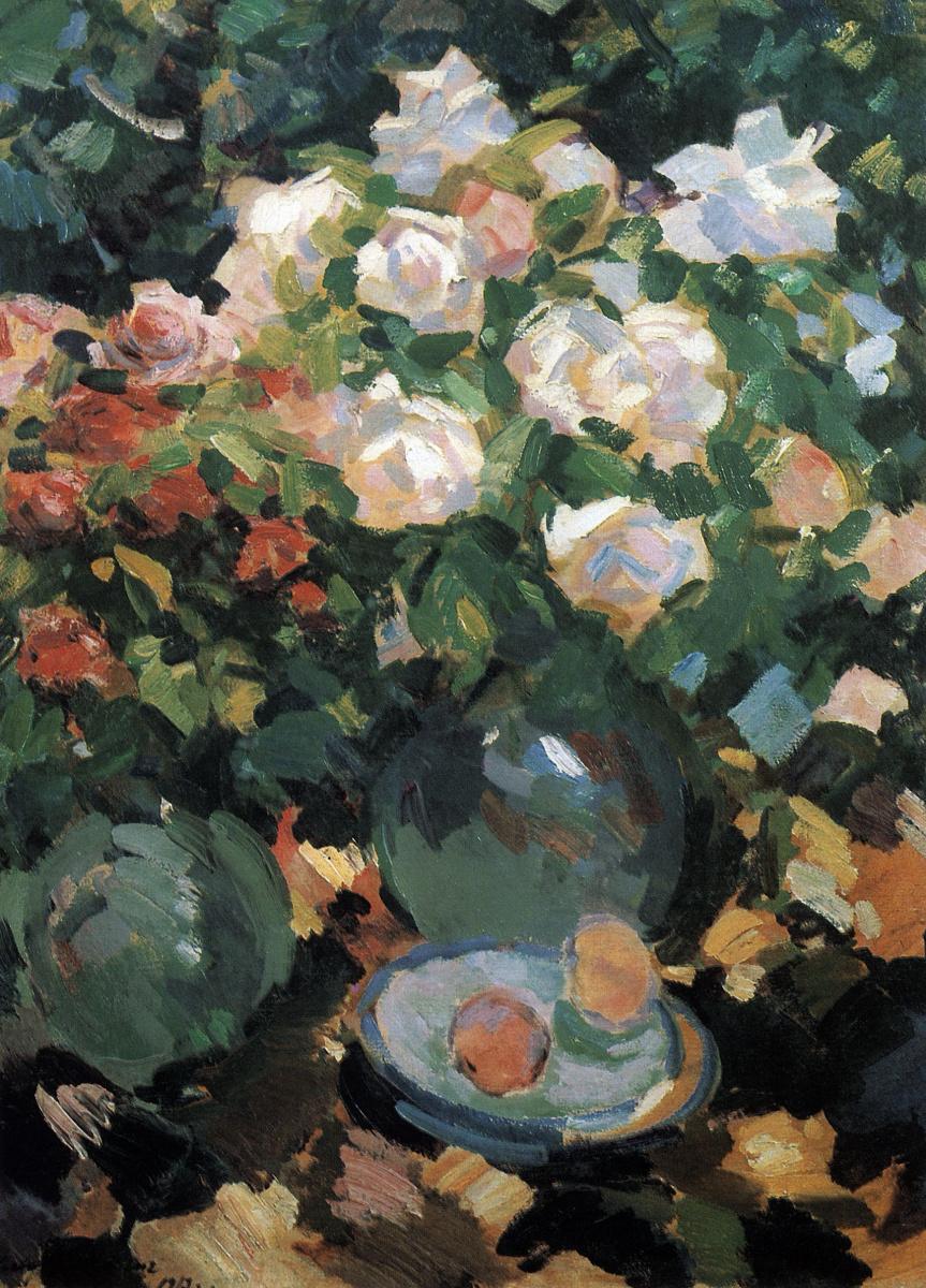 Константин Алексеевич Коровин. Розы в голубых кувшинах