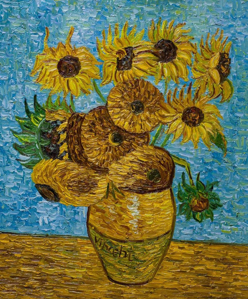 """Andrzej Vlodarczyk. Copy of Van Gogh's painting """"Vase with Twelve Sunflowers, 1888"""""""
