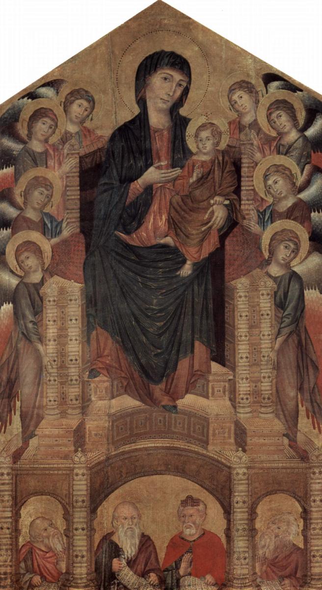 Ченни ди Пепо Чимабуэ. Мадонна на троне с восемью ангелами и четырьмя пророками