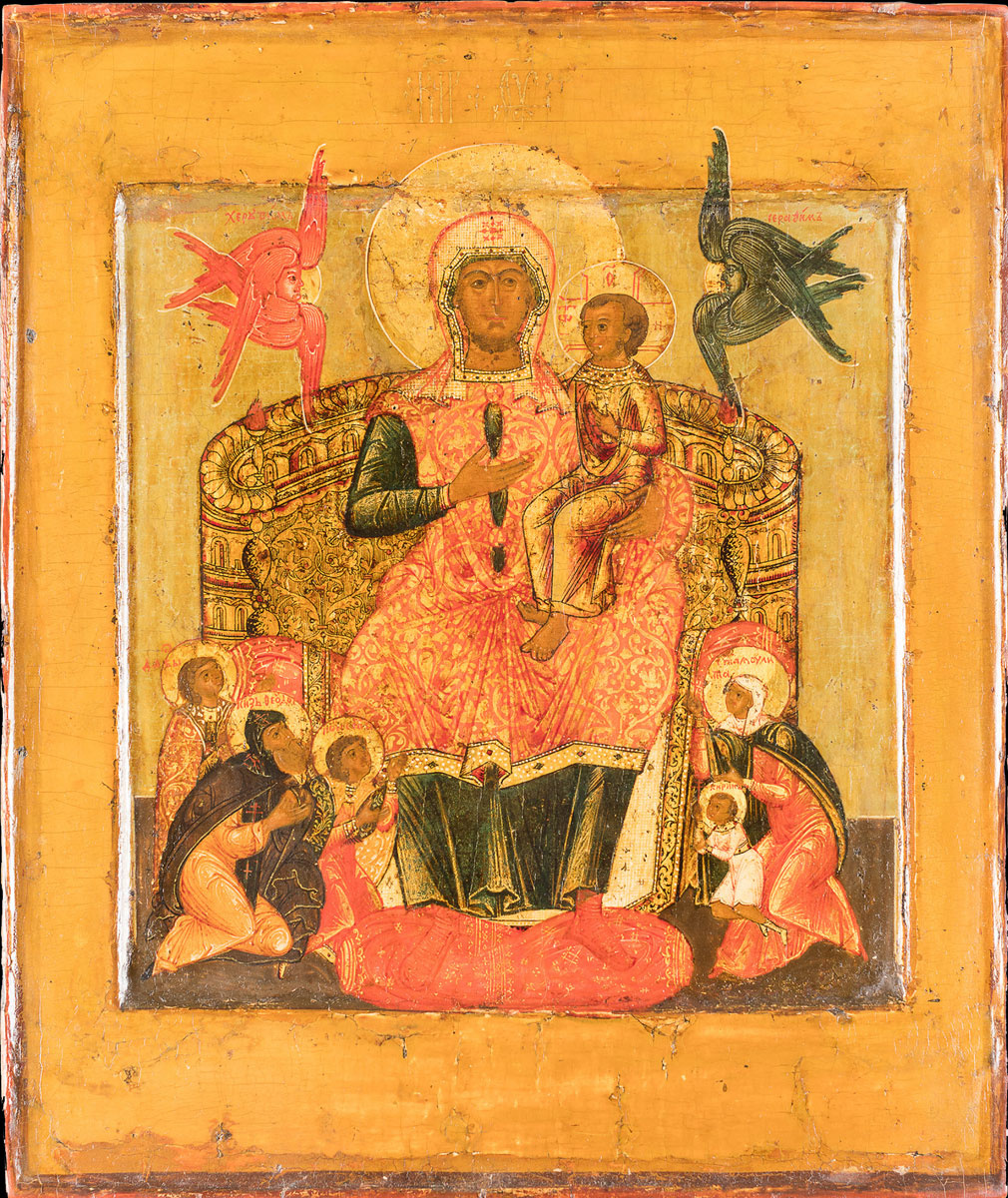 Icon Painting. The Virgin and Child on the throne, with selected saints