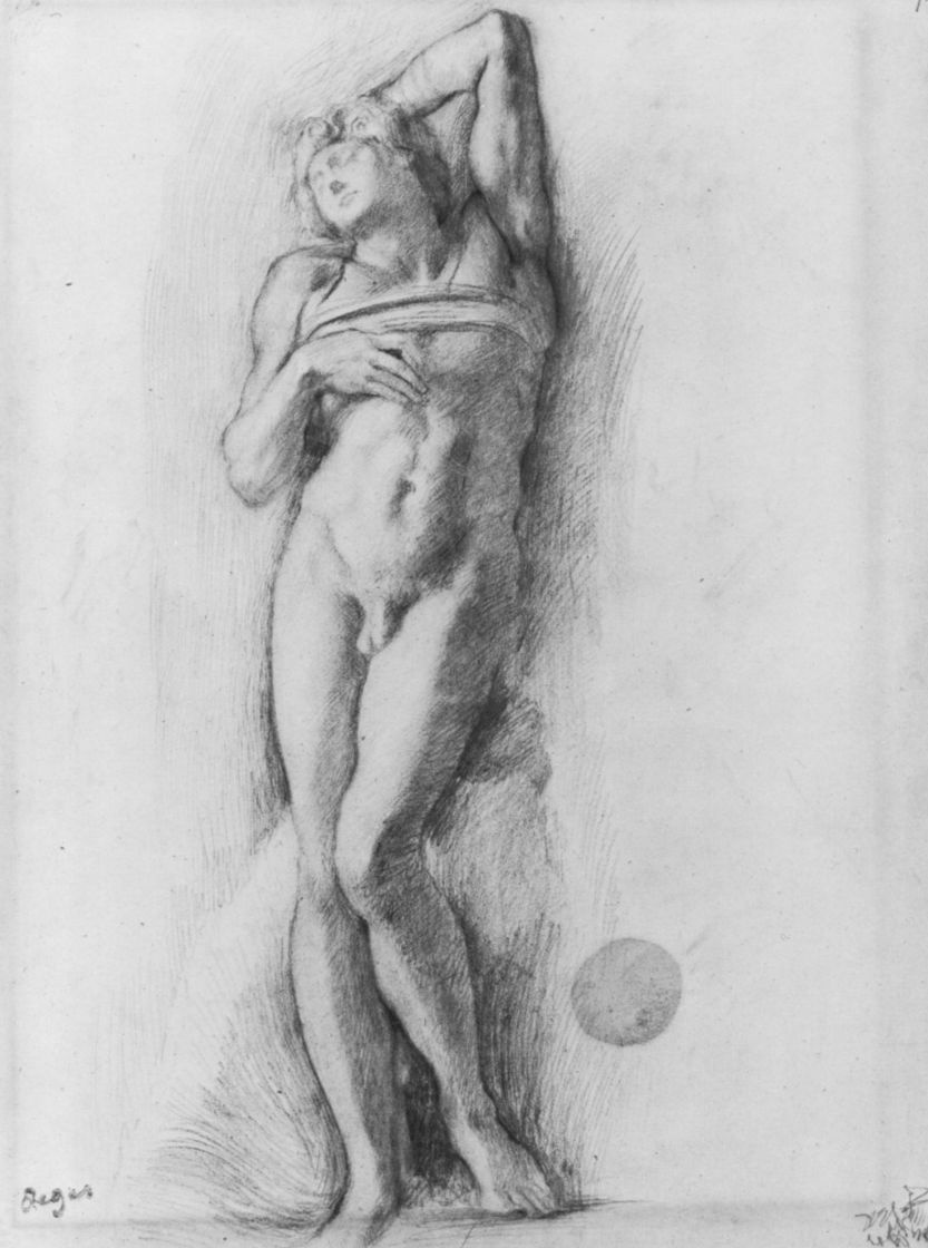 """Edgar Degas. Sketch the figure from Michelangelo's """"Dying slave"""""""