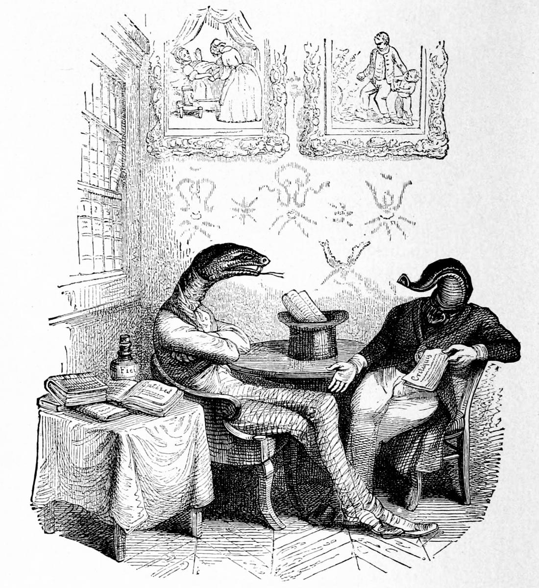 Жан Иньяс Изидор (Жерар) Гранвиль. Гадюка и Пиявка. Иллюстрации к басням Флориана