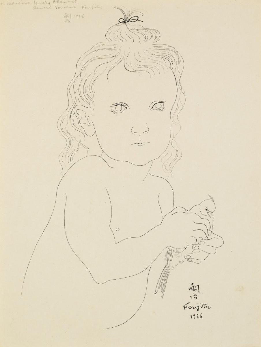Цугухару Фудзита ( Леонар Фужита ). Ребенок с птицей. 1926