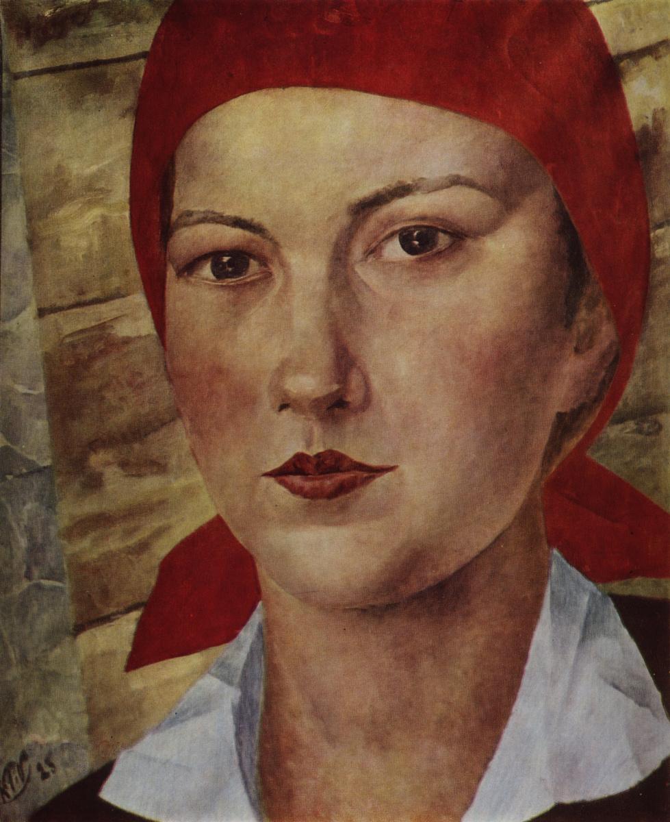 Кузьма Сергеевич Петров-Водкин. Девушка в красном платке (Работница)