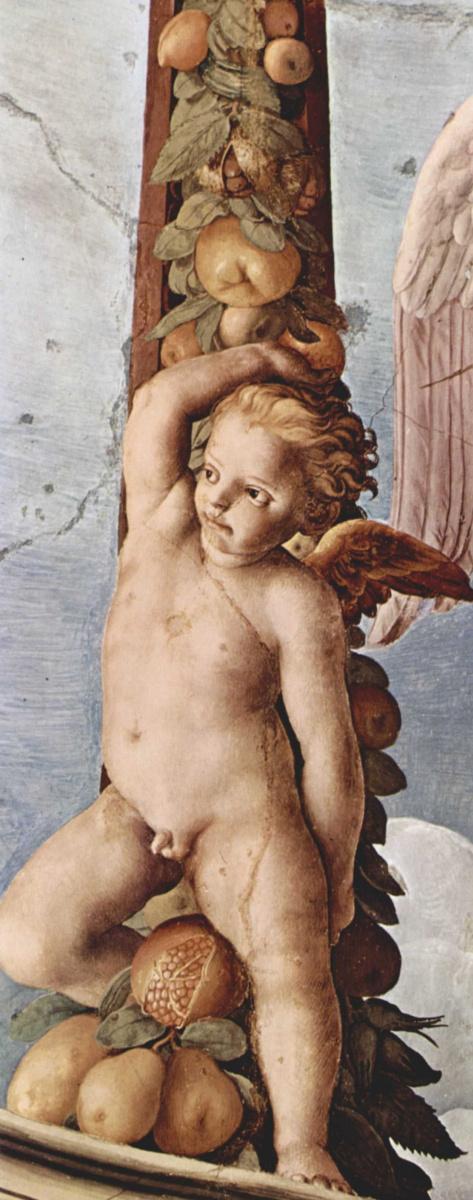 Аньоло Бронзино. Фрески капеллы Элеоноры Толедской в Палаццо Веккио во Флоренции, фреска на потолке. Деталь:гирлянда с ангелом
