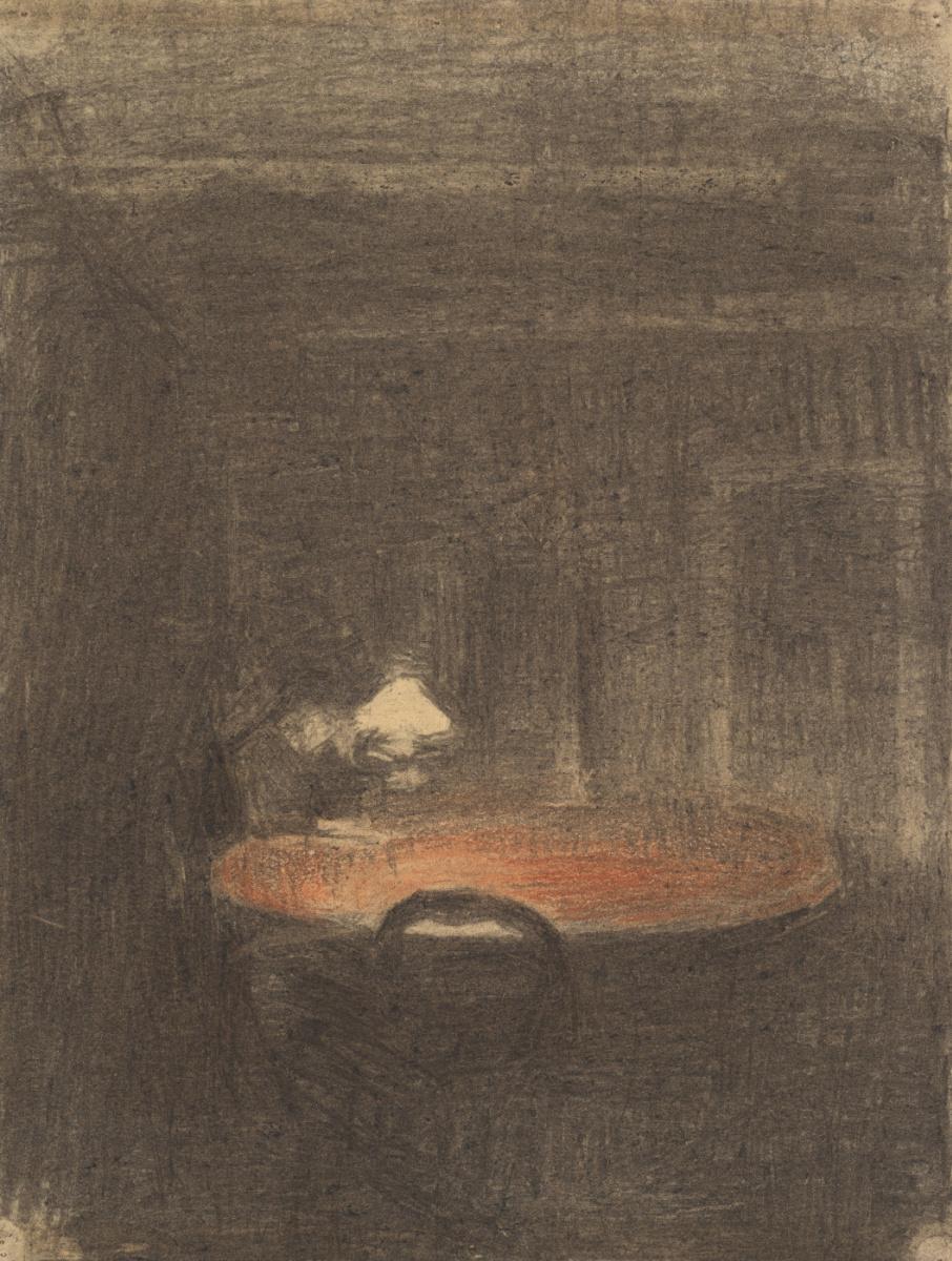 Вильгельм Хаммерсхёй. Фигура, читающая за столом, в ночном интерьере
