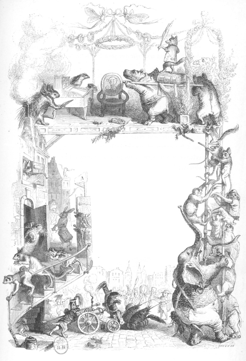 "Jean Inias Isidore (Gerard) Granville. ""Scenes of public and private life of animals."" Design of the title page of Volume II. ""Animal Revolution"""