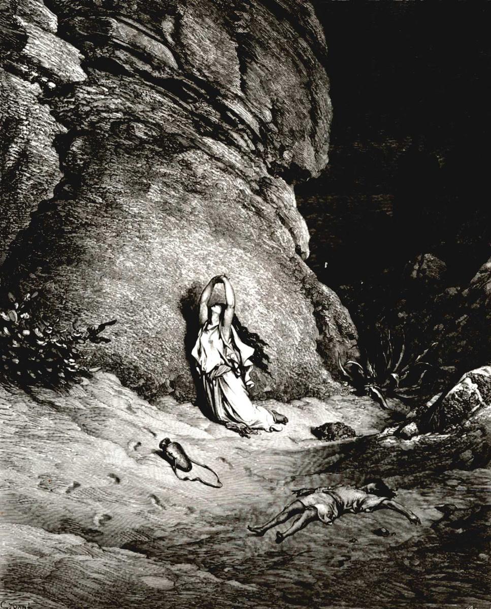 Поль Гюстав Доре. Иллюстрации к Библии: Агарь и Измаил в пустыне