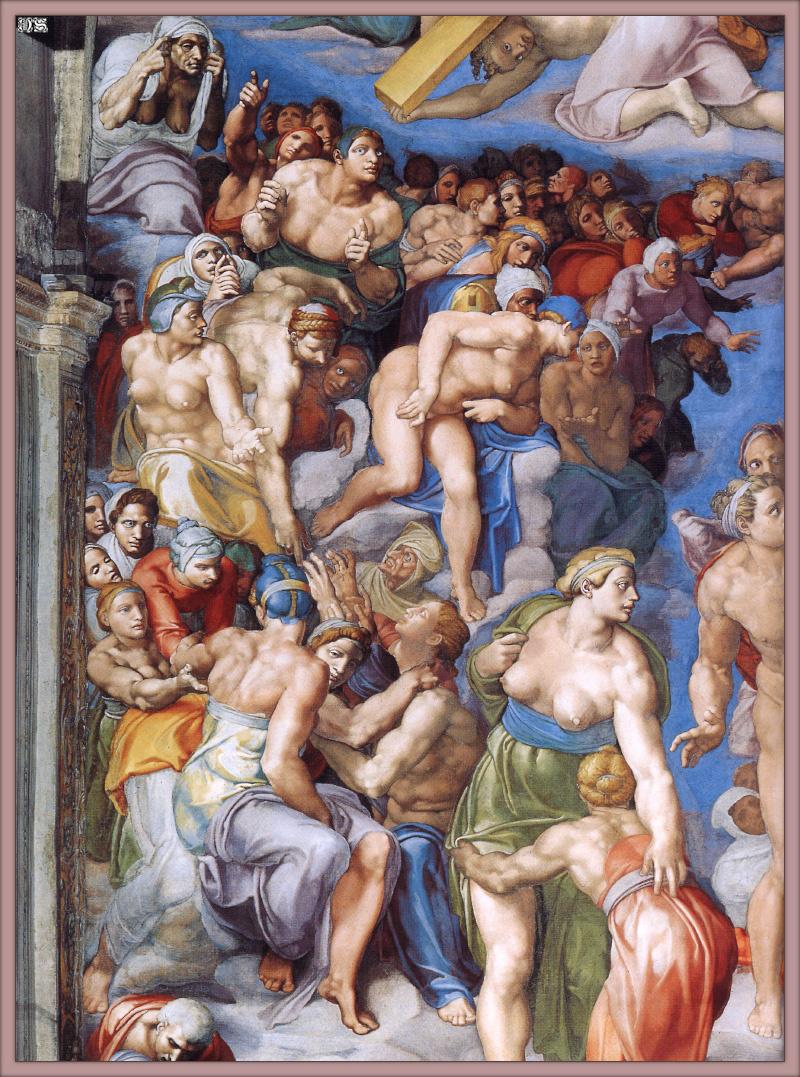 Микеланджело Буонарроти. Страшный суд. Второе кольцо персонажей. Левая сторона