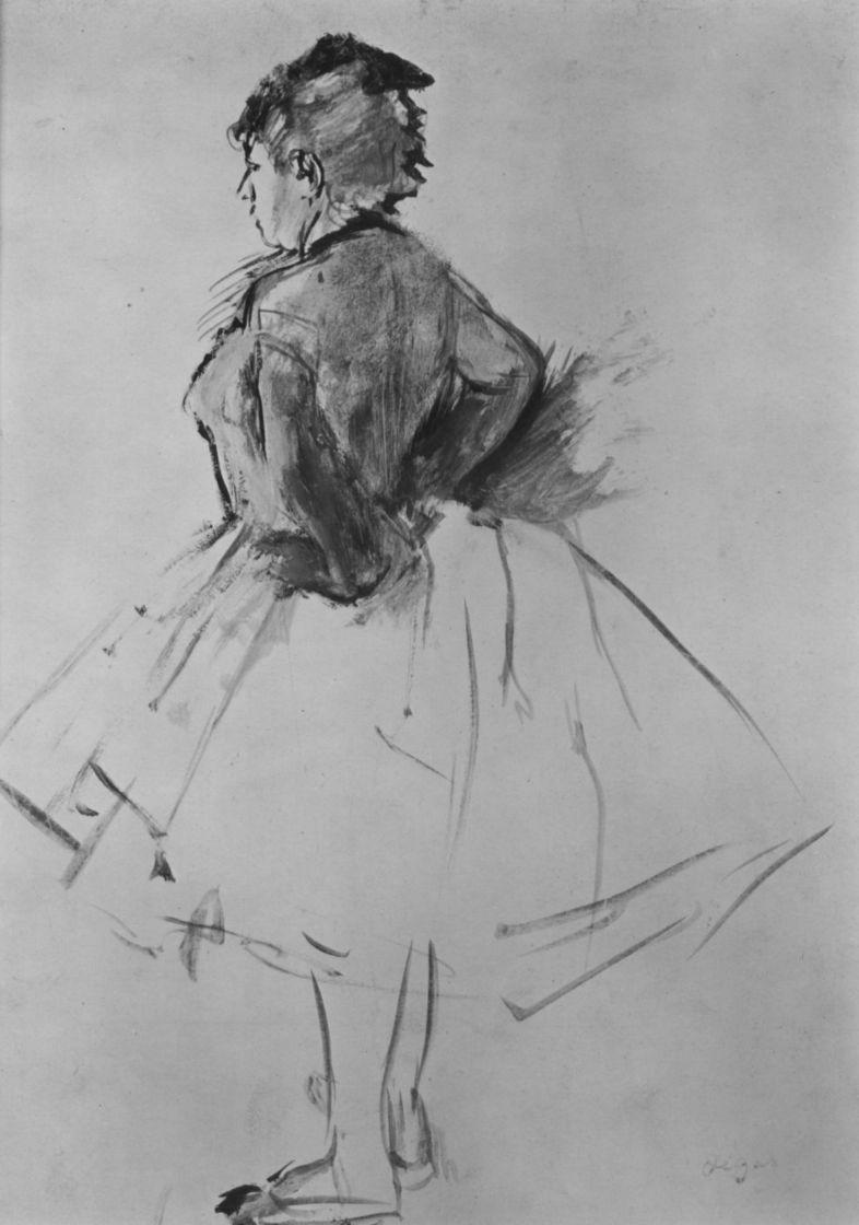 Эдгар Дега. Балерина в профиль, с руками на поясе