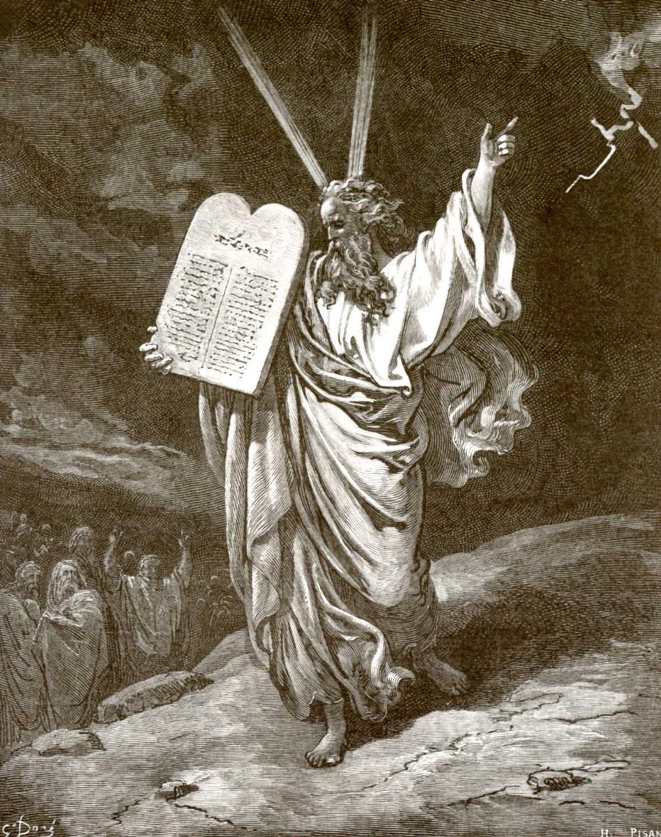 Поль Гюстав Доре. Иллюстрация к Библии: Моисей со скрижалями Завета