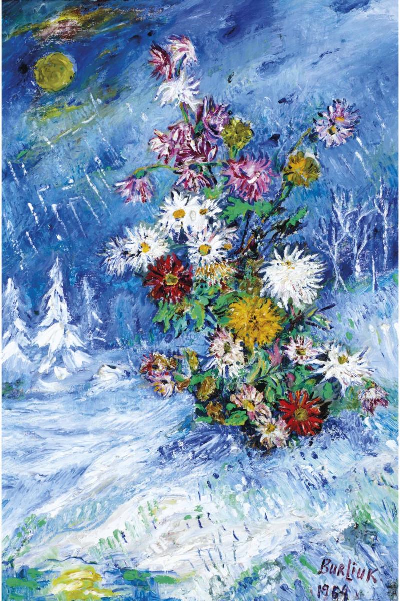 Давид Давидович Бурлюк. Цветы на снегу