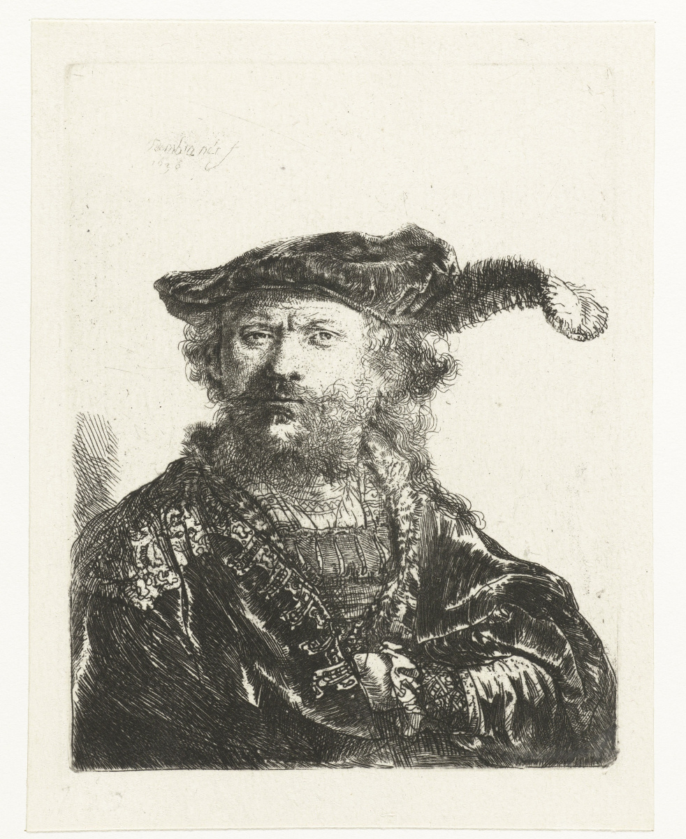 Рембрандт Харменс ван Рейн. Автопортрет в берете с пером