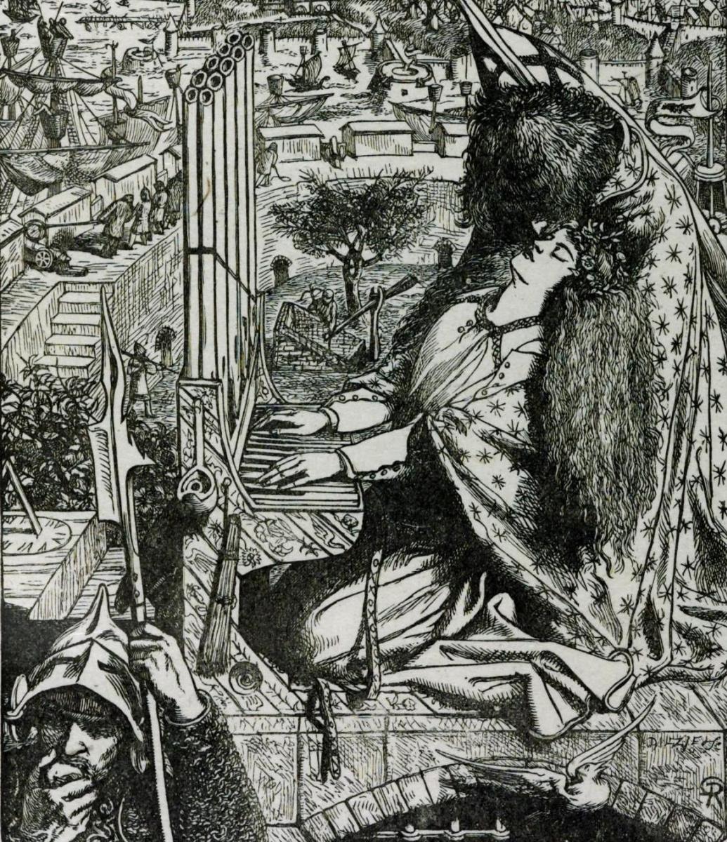 Данте Габриэль Россетти. Святая Сесилия (Иллюстрация к Дворцу искусств в стихах Теннисона)